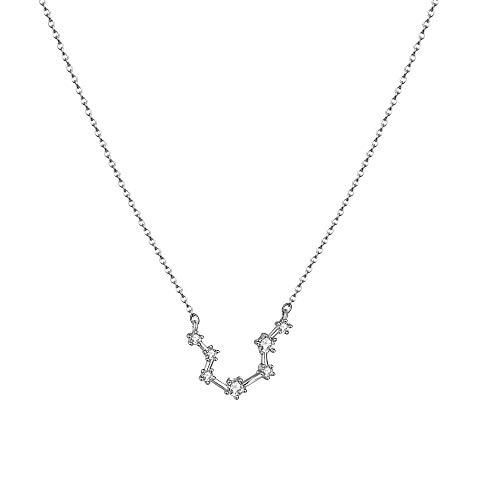 (LOYATA Constellation Zodiac Necklace, Silver Plated Horoscope Pendant Necklace Delicate Rhinestone Zodiac Sign Elegant CZ Star Constellation Aquarius Necklace for Women (Aquarius))