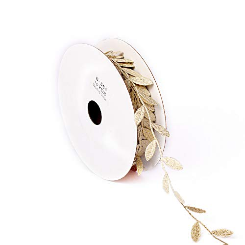 10 Yards DIY Leaves Leaf Trim Ribbon Tapes Napkin Rings Leaves Garland, DIY Craft Sewing Wedding Party Baby Shower Decoration (Gold) ()