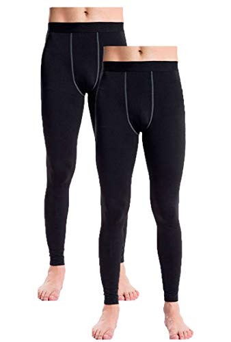 Men's Thermal Fleece Compression Leggings Pants Sports Baselayer Tights 2 Pack