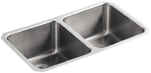 KOHLER K-3171-NA Undertone Double Equal Undercounter Kitchen Sink, Stainless Steel ()