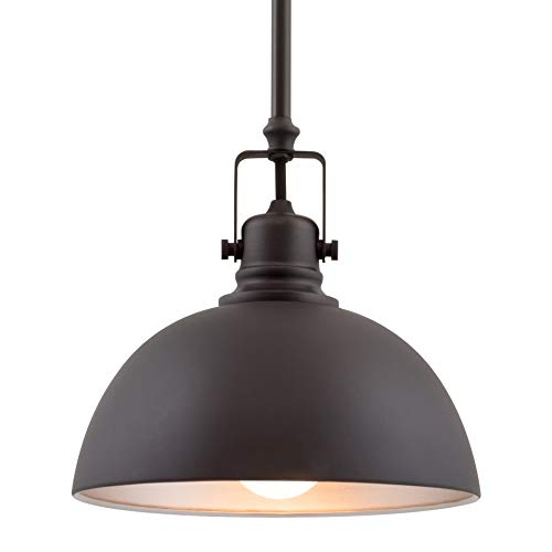 ontemporary Industrial 1-Light Pendant Light, Adjustable Length + Shade Swivel Joint, Oil-Rubbed Bronze Finish ()