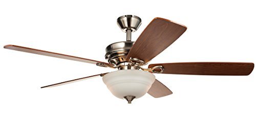 Hyperikon Indoor Ceiling Fan with Remote Control - 52-inch Brushed Nickel Ceiling Fan Fixture, Energy Star - Five Wood Blades and Frosted Dome Light - Bulb Not Included