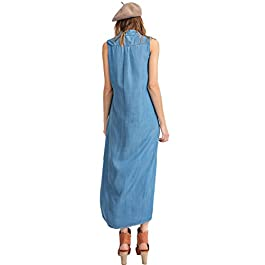 Women's Sleeveless Blue Jean Button Down Denim Shirt Dress