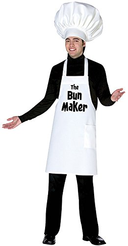 Mascot Costume Maker (UHC Bun Maker Outfit Chef Hat & Apron Funny Theme Adult Halloween Costume, OS)
