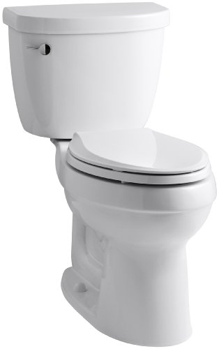 KOHLER K-3589-0 Cimarron Comfort Height Elongated 1.6 gpf Toilet with AquaPiston Technology, Less Seat, White