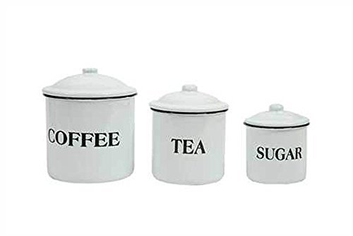 Farm House Distress Vintage Style Canister Set of 3