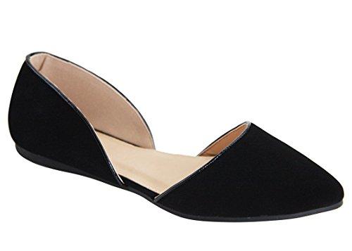 Women's Pointed D'orsay Flats Breckelles Toe Black nubuck Suede Faux ZP1PUBq