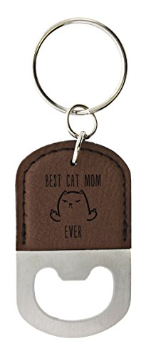 - ThisWear Funny Cat Gifts for Women Best Cat Mom Ever Middle Finger Cat Girlfriend Gift Leather Bottle Opener Keychain Key Tag Brown