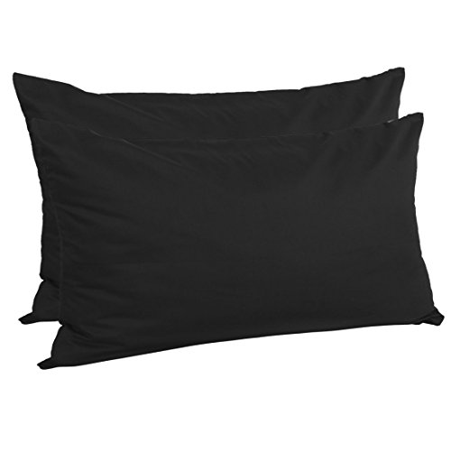 uxcell Zippered King Pillow Cases Pillowcases Covers Protectors, Egyptian Cotton 300 Thread Count, 20 x 36 Inch, Black, Set of 2