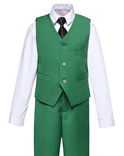 Boys Vest and Pants Set Kids Suit for Boy Formal Tuxedo Dresswear Outfit Green Size 7 by Visaccy (Image #1)