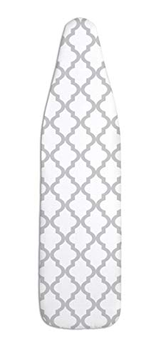 """Epica Silicone Coated Ironing Board Cover- Resists Scorching and Staining - 15""""x54"""" (Board not Included) (Lattice: White and Grey)"""