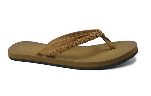 Women's Braided Sandal Classic Synthetic Leather Flip Flop Casual PU Shoe (7 B(M), Flirty-Camel)