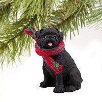 1 X Pug Miniature Dog Ornament - Black by Conversation Concepts