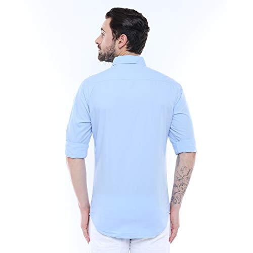 Dennis Lingo Men's Solid SkyBlue Slim Fit Casual Shirt