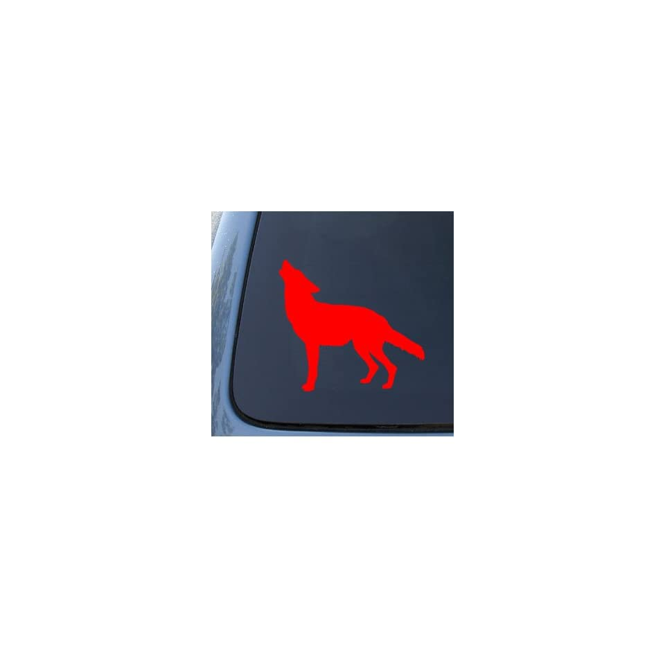 WOLF SILHOUETTE   Howling   Car, Truck, Notebook, Vinyl Decal Sticker #1184  Vinyl Color Red