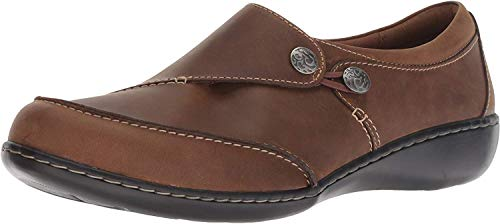 CLARKS Women's Ashland Lane Q Loafer, Dark tan Leather, 100 W US