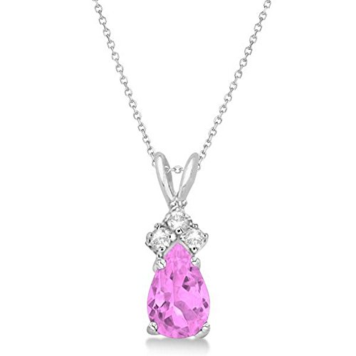 Natural Pear Shaped Pink Sapphire and Diamond Solitaire Pendant Necklace 14K White Gold (0.75ctw)