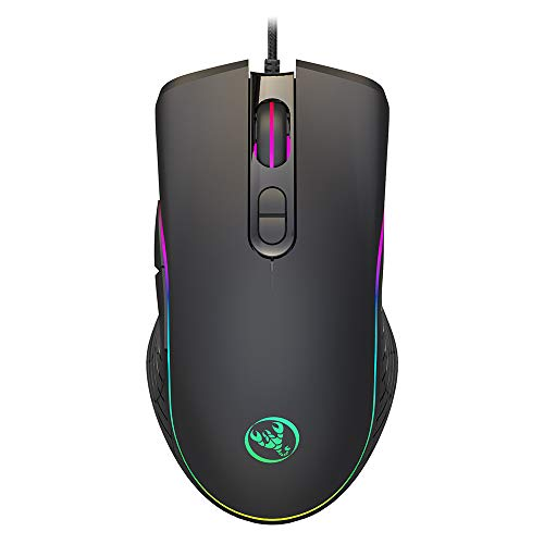 Decdeal HXSJ Wired Gaming Mouse DPI6400 Optical Mice R GB Backlit Office Mouse 7 Buttons Ergonomic Design