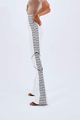 Pantalon de taille haute et bas en faux néoprène blanc détails tissu technique brodé