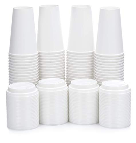 (DOBI Disposable Coffee Cups with Lids 16 oz. / (100 PACK) / White - Disposable Paper Cups w/Plastic Lids for All Your Hot Drinks Needs)