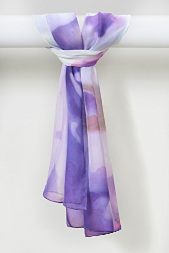 Wisteria Scarf Organic Smooth Silk Chiffon in Gentle Lilac White by Louis Jane  (''Where Nature Meets Art''TM)