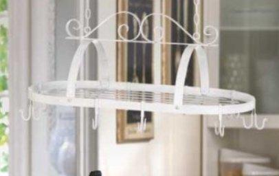 SKB Family White Metal Hanging Pot Holder Accent pots pans center storage rack