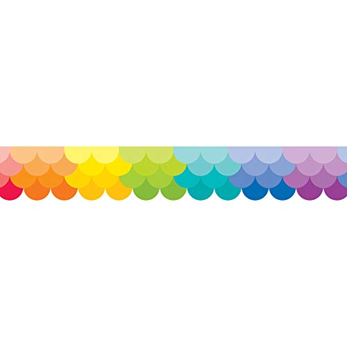 Creative Teaching Press CTP0186BN Painted Palette Ombre Rainbow Scallops Border, 35' Per Pack, 6 Packs -