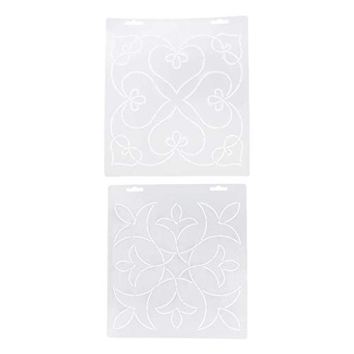 SM SunniMix 2pcs Plastic Quilt Template Stencils for Quilting Embroidery Patchwork Sewing Crafts