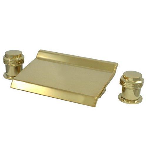 Milano Round Handles (Kingston Brass KS2242MR Milano Round Waterfall Roman Tub Filler, Polished Brass)