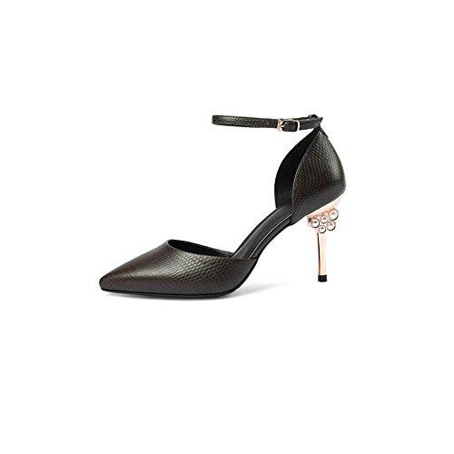 DALL Zapatos de tacón Ly-677 Moda Y Simplicidad Zapatos De Mujer Tacones Finos Apuntado Cabeza Tacones Sandalias Primavera Y Verano 8.5cm De AltoAlta (Color : Caqui, Tamaño : EU 37/UK 4.5-5/CN37) Caqui