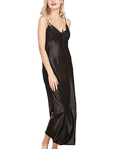 YesFashion femme sexy col V sling côté split slim longue robe bretelle de nuit en soie imitation Noir L