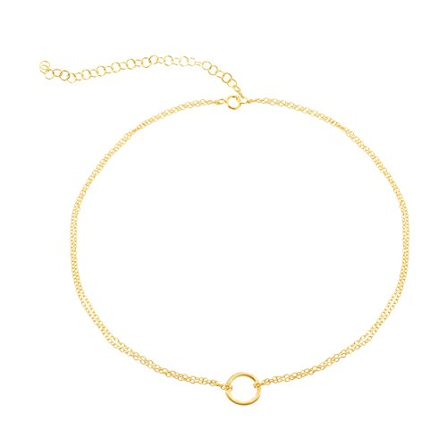 Gold Necklace Belle - Sterling Silver Gold-Plated Italian Adjustable 12