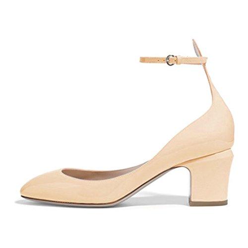 FSJ Women Retro Ankle Strap Mid Heels Dress Pumps Almond Toe Patent Leather Shoes Size 4-15 US Beige VGvpmO