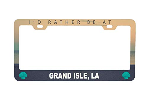 R and R Imports Grand Isle Louisiana Sea Shell Design Souvenir Metal License Plate Frame