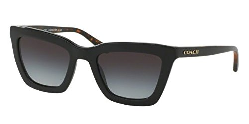 Coach Women's HC8203 Sunglasses Black/ Black Tortoise / Light Grey Gradient - Sunglasses Tortoise Coach