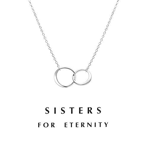 Zealmer Double Link Necklace Friendship Pendent Rings Chain with Message Card as Gift ()