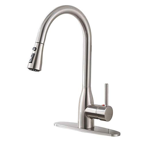 Ufaucet Modern Commercial Lead-free Solid Brass Single Lever Pause Botton Pull Out Sprayer Brushed Nickel Kitchen Faucet, Kitchen Sink Faucet With Deck Plate (Faucet Sink Free)