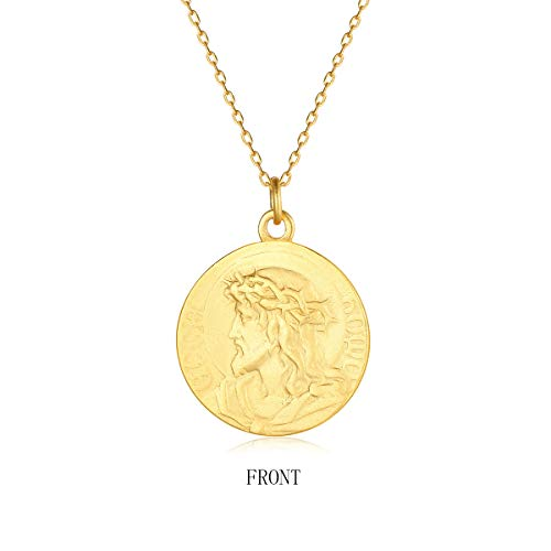 VACRONA Gold Coin Pendant Necklaces,18K Gold Filled Disc Dainty Ancient Figure Engraved Handmade Circle Tiny Lucky Special Coin Pendants Necklaces Jewelry Gift for ()