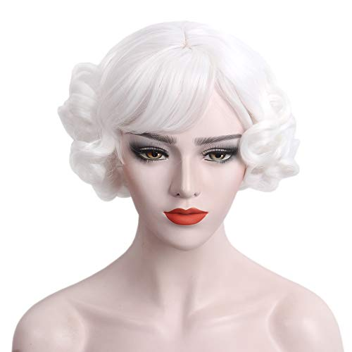 (STfantasy Curly Wigs with Bangs for Mrs Claus Cosplay Costume Short Layered Synthetic Hair Lolita)