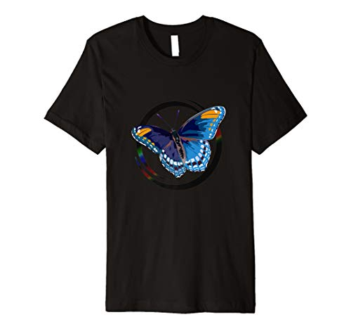 (Blue-ish Morpho Logo Butterfly, Painted Tattoo Graphics Tee)