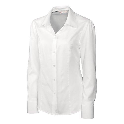 Cutter & Buck Women's Epic Easy Care Long Sleeve Nailshead Collared Shirt, White, (Nailshead Woven Shirt)