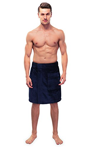Turkuoise Men's Cotton Terry Velour Bath Towel Wrap Made In Turkey (Navy Blue) (Mens Terry Wrap)