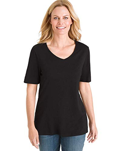 Chico's Women's Short Sleeve V-Neck Slub Tee, Black, 4/6 - S (0)