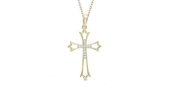 Triostar 925 Sterling Silver 14K Gold Plated CZ Diamond Studded Holy Cross Pendant Jewelry