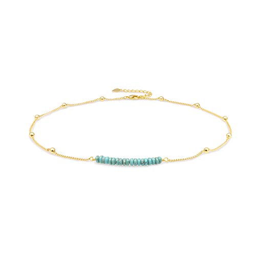 (18K Gold Satellite Beaded Curb Ball Chain Choker Turquoise Beads Bar Necklace Handmade Pendant Jewelry Adjustable for Women 16