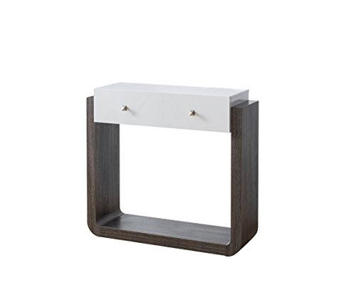 Top Base Rectangular Only Table (247SHOPATHOME IDI-161843 Keelan Console, Gray/White)