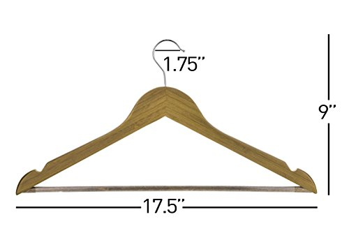 Neaties Bamboo Walnut Wood Hangers with Notches and Non-Slip Bar, 24pk by Neaties (Image #4)