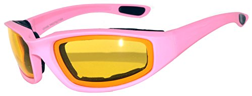 Womens Pink Yellow Night Driving Lens Padded Foam Motorcycle Biker Glasses Goggles 99% UV - Online Driving Goggles