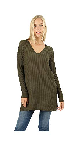 - Jayde N' Grey Ultra Soft Premium Brushed Melange Oversized Cozy Long Tunic Sweater Top Regular & Plus Size (Waffle Knit Dark Olive, 3X Plus)