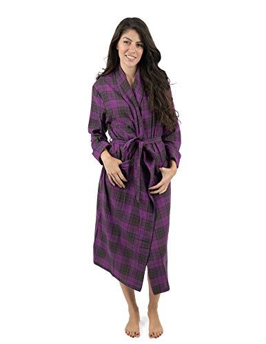 (Leveret Womens Robe Flannel Robe Christmas Robe Purple/Grey Plaid Size Medium)